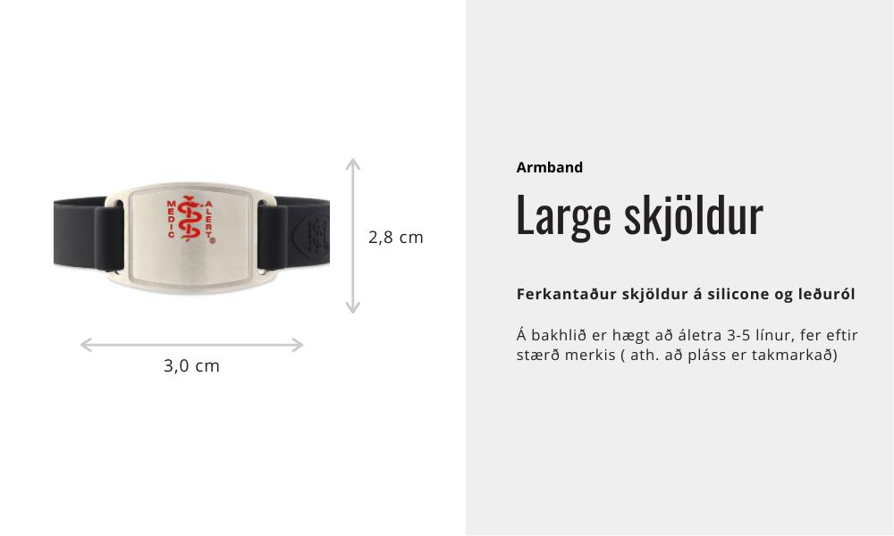 Armband - Large skjöldur silicone : leðuról